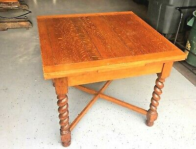 Antique Oak Refactory (refectory) Table with Hidden Leaves