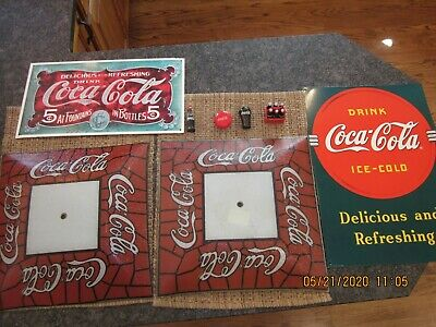 """2-VTG COCA COLA Ceiling SHADE Red White PEBBLED Glass 14""""+ TIN SIGNS"""