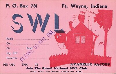 Old QSL from Avanelle Jacob (SWL), Ft. Wayne, Indiana, USA