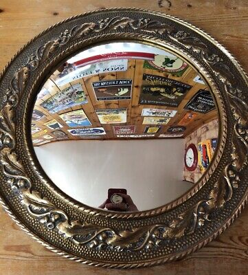 Vintage Brass Porthole Arts & Crafts Convex 1950s  Round Mirror Wood Framed