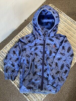 Joules Right As Rain Pack-it Jacket In Blue With Beetles. Age 4