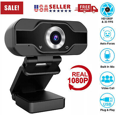 Real 1080P Full HD USB Webcam Web Camera with Microphone for PC Desktop & Laptop