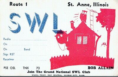Old QSL from Bob Allain, Route 1, St. Anne, Illinois, USA (1948)