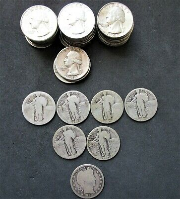 Mixed Roll of 40 - $10 Face 90% Silver, Washington, Liberty & Barber Quarters