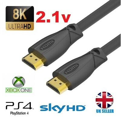 NEW Premium Ultra High Speed Gold 2.1V HDMI Cable 8K 3D PS4 XBOX 2160P V2.1 V2.0