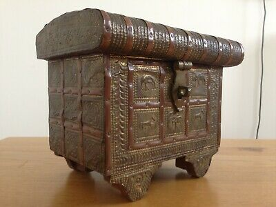 Antique Indian Hardwood and Brass Dowry Chest Jewelry Box