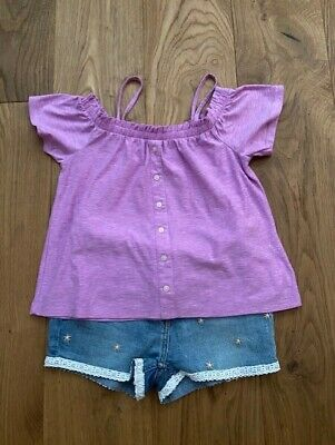 Light Blue Shorts With Ditsy Flowers and Mauve Top by NEXT for Girl Age 10 Years