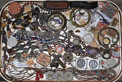 Job Lot Vintage Collectables & Curios Jewellery Coins Keyrings Badges Boxes etc