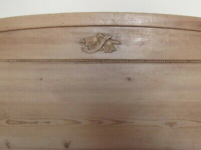 Two Antique Pine Sleigh Beds with Beading and Small Carving (European)