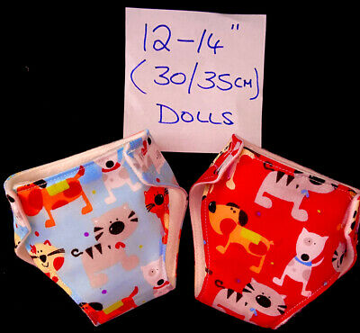 """2 New Boy Dolls Nappies Fit Baby Alive 1st Baby Born Dolls Clothes 12-14""""30-36cm"""