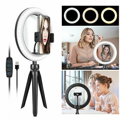 Dimmable LED Ring Light Lamp Selfie Camera Phone Studio Tripod Stand Photo Video