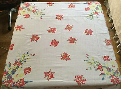 "VINTAGE WHITE TABLE CLOTH ~ FLORAL PRINT DAFFODIL & MORE ~ PRETTY 45""x 50"""