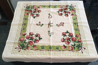 "VINTAGE TABLECLOTH ~  LUCKY CHARMS & CLOVERS -  CARD / GAME TABLE ? -  27"" x 31"""