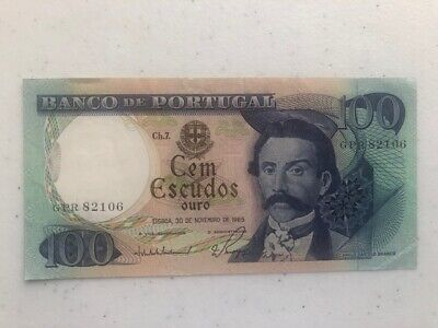 100 Escudos Banknote From Portugal Note 1965 #106