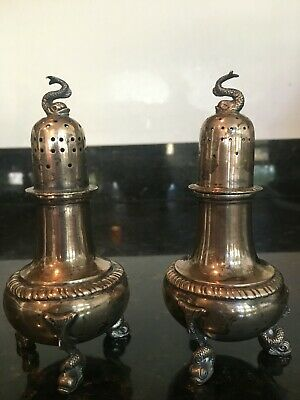 Made in England Circa 1920 Set of Antique Sterling Salt /& Pepper Shakers