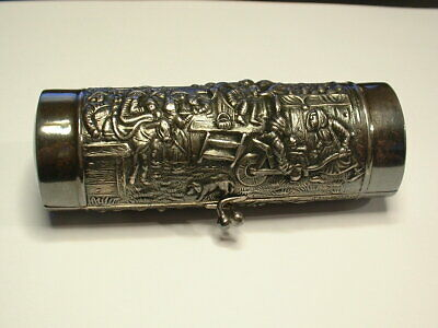 Dutch-German Vintage Silver Plate Snuff / Tobacco Box! City Scene! A Beauty!