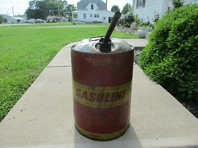 VINTAGE HUFFY  6.5 gallon METAL GAS CAN WITH DOME LID AND SPOUT