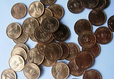 49 uncirculated half pence copper 1971 coins