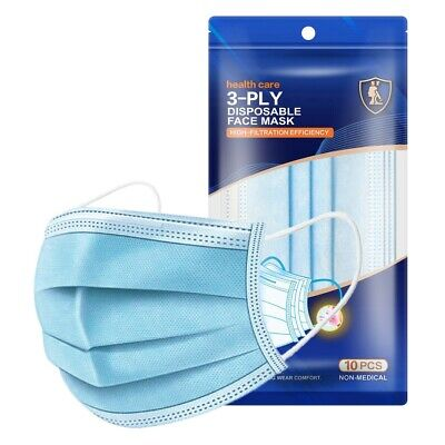 50 Count Box - 3-PLY Disposable Face Mask Masks Medical Earloop Mouth Cover