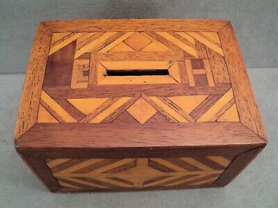 "Antique English Inlay Marquetry MONEY BOX Initials ""EH"" 1870s MAHOGANY - Estate"