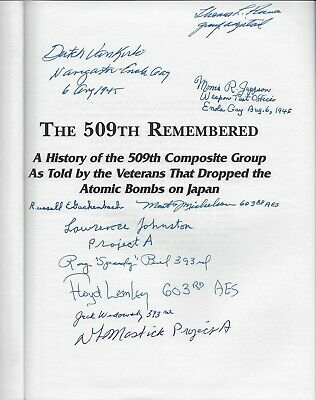 Enola Gay,Bockscar,The 509th Remembered, 10 autographs, Atomic Bomb, WWII