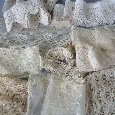 "Lot IMPERFECT Cream + Ecru Antique LACE Trims Scraps 2"" - 4"" Wide * DOLLS"