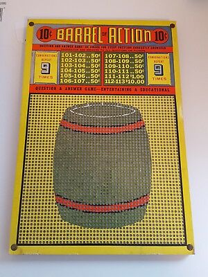 """Old Unpunched  Gambling Punchboard  """" Barrel of Action""""  w/ Metal Punch Heavy"""