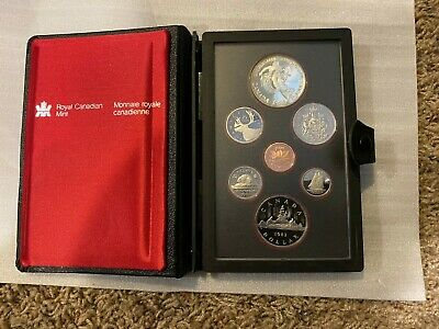 1983 Canada Proof 7 coin set, Complete with all OGP Silver Dollar mint pkg + COA