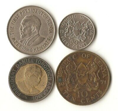Four Kenya coins, 10 and 50 cents, 1 and 20 shillings, 1971- 1998