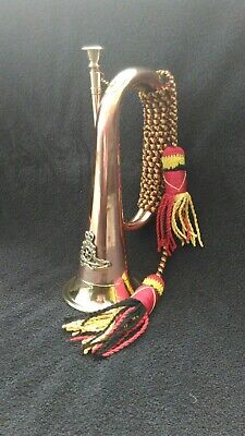 COPPER & BRASS MILITARY BUGLE. Royal Artillery badge. New reproduction.