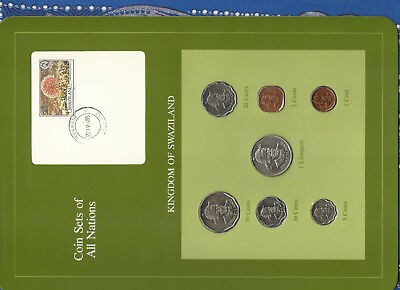 Coin Sets of All Nations Swaziland 1975-1982 UNC 1 cent 1975 1 Lilangeni 1981