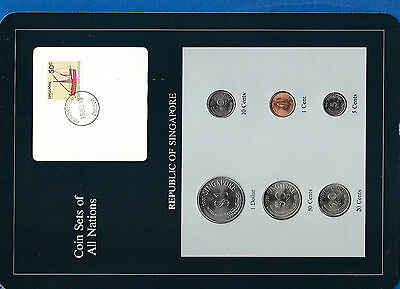 Coin Sets of All Nations Singapore UNC w/card 1981 $1 50,20,10,5,1 Cents