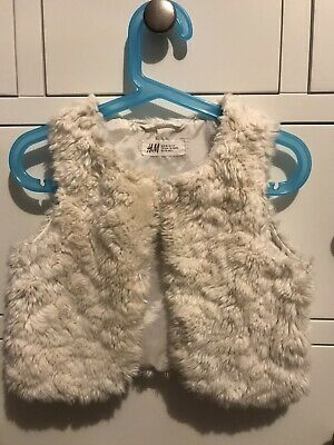 H & M Girls Gilet Cream Faux Fur, Age 2-3