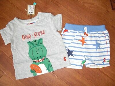 Bnwt Joules Baby Boys Barnacle Dino Rugby T-Shirt & Shorts 2 Part Set 6-9 Months