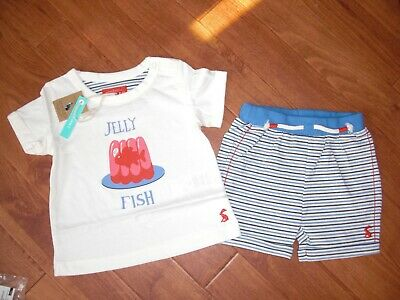 Bnwt Joules Baby Boys Barnacle Jelly Fish T-Shirt & Shorts 2 Part Set 9-12 Month