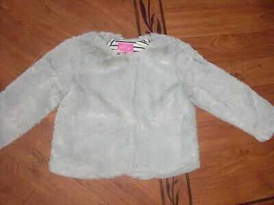 Bnwt Girls Joules Thelma Super Soft Grey Faux Fur Jacket Age 6 Yrs.rrp £39.95