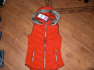 Bnwt Girls Joules Alanis Red Hooded Gilet Jacket Age 11-12 Yrs,Rrp £59.95.