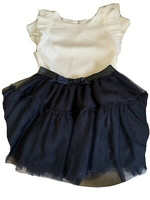 Gorgeous Girls Outfit Age 4-6/ 5-6 Navy Glitter Skirt And  White / Ivory Top