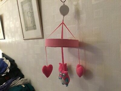 Used Pink Baby Owl Hanging Musical Mobile