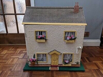 Handmade 2 storey wooden Dolls House with furniture