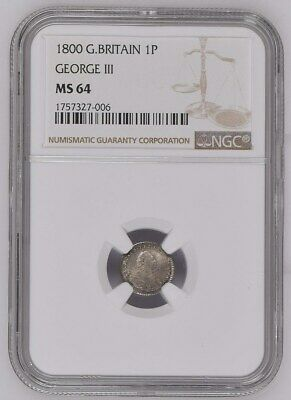 1800 Great Britain Penny 1 Pence Coin Ngc Ms 64. Km# 614