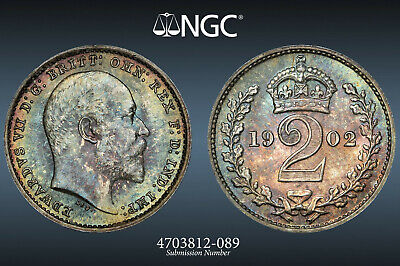 1902 Great Britain Maundy 4 Coin Set: Ngc Ms 67/67/66/66.  Km# 795 796 797.1 798