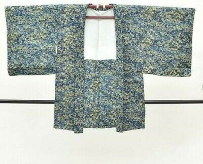 Vintage Japanese Ladies' Deep Blue/Yellow Silky Floral Kimono Haori Jacket 8-12
