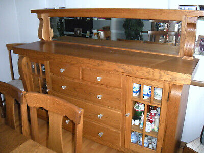 Gorgeous Restored Quartersawn Oak Buffet with Beveled Mirror 1930's