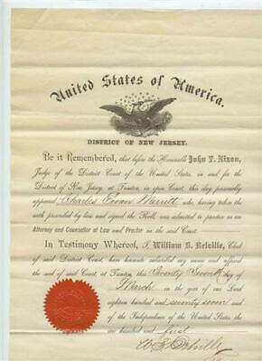 1877 United States of America District of New Jersey Certificate to Practice Law