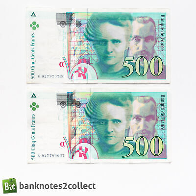 FRANCE: 2 x 500 French Franc Banknotes.