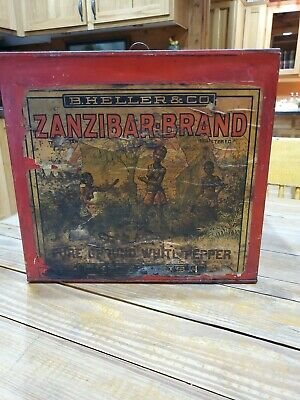 Vintage Black Americana Zanzibar Brand Pure Ground White Pepper Can Tin Sign