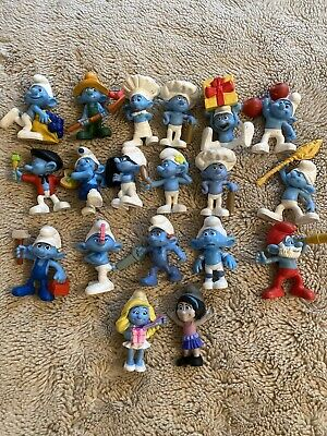 Smurfs Lot Of 19 Figurines Cake Toppers, Smurfette, Papa Smurff