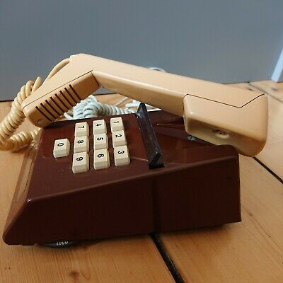 VINTAGE 70s 80s GPO 8766 PUSH BUTTON TRIMPHONE TELEPHONE two tone cream brown