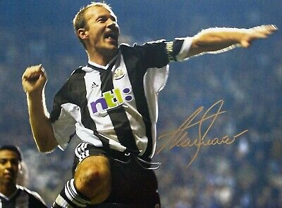 Signed Alan Shearer Scoring At Newcastle United Autographed Photo. 16 x 12 ins.